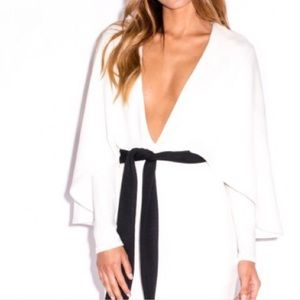 White mini cape dress
